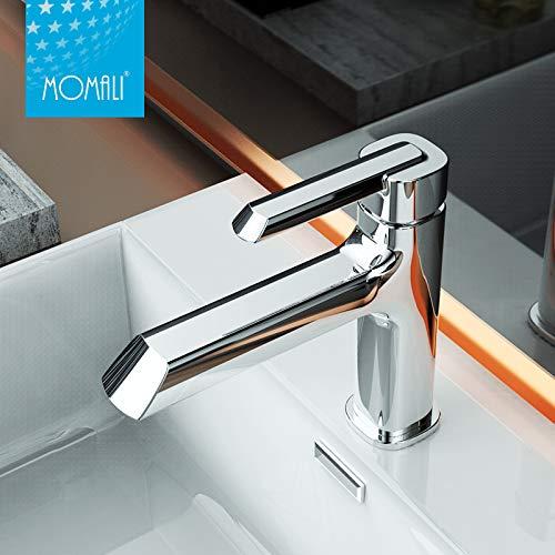 Ausverkaufspreis SENDERPICK Modernes Badezimmer Messing Wasserhahn, Einhand-Becken Waschbecken Mischbatterie, Kalt-und Warmwasser Mixer (Silber-)