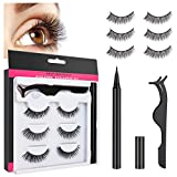 False Eyelashes, Number-one 3 Pairs Natural & Reusable Magnetic Eyelashes and Eyeliner Kit with Waterproof Liquid Eyeliner & Tweezers, Upgraded 3D Magnetic Eyelashes Kit for Makeup Eyelashes Extension
