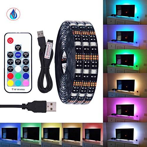 VAWAR Led-strip, tv-ledstrip, 5050 RGB strip voor HDTV USB-tv-verlichting met 17 toetsen afstandsbediening, waterdicht IP65