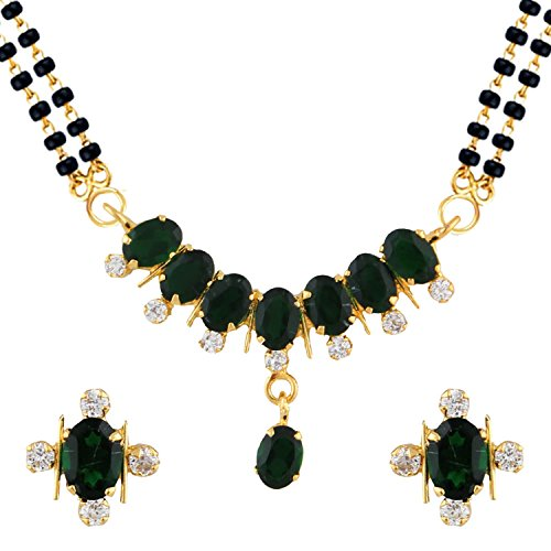 Efulgenz Indian Bollywood Traditional Ruby Emerald/Color CZ Stone Mangalsutra Pendant Necklace Jewelry with Chain for Women