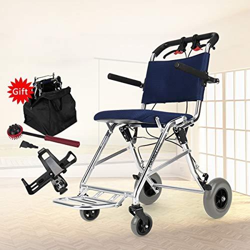 Ultralichte transport-rolstoel voor oudere mensen en kinderen, opvouwbaar aluminium frame, capaciteit 100 kg.