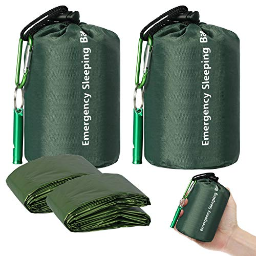 EEEKit Notfall Schlafsack, 2 Stück Leicht Wasserdicht Überlebenssack, Thermo Notfalldecken, Tragbare Mylar Überlebensausrüstung mit Pfeife für Camping Wandern Outdoor Aktivitäten(Grün)