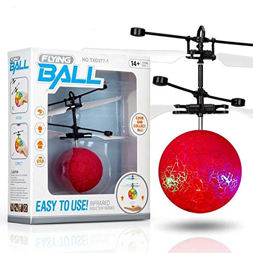 Flying Toy Ball Infrared Induction RC Flying Toy Built-in LED Light Disco Helicopter Shining Colorful Flying Drone Indoor Outdoor Games Toys for 1 2 3 4 5 6 7 8 9 10 Year Old Boys Girls