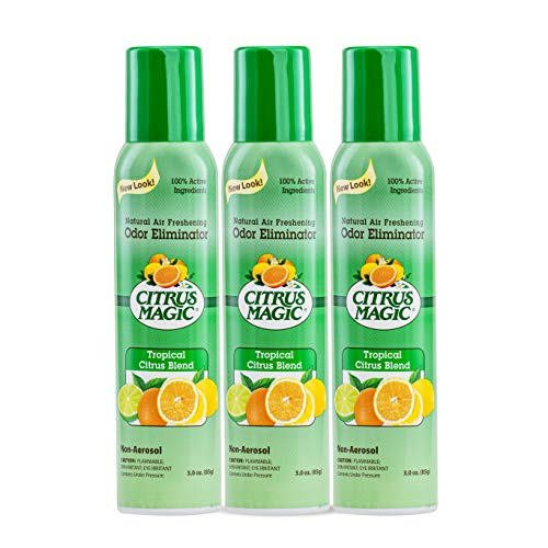 Citrus Magic Natural Odor Eliminating Air Freshener Spray Tropical Citrus Blend, Pack of 3, 3.0-Ounces Each