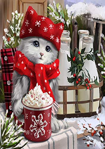 300 Piece Jigsaw Puzzles, Christmas Cat Wooden Puzzles for Adults Kids Family Friends Educational Toys