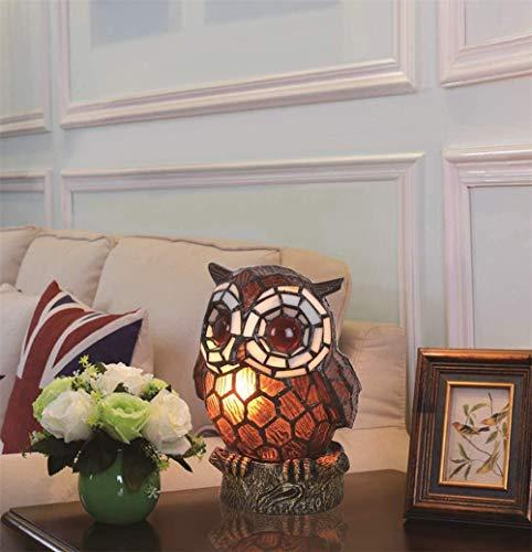 DALUXE Tischlampe Tiffany-Lampe Buntglas-Eule Handgemachte Schlafzimmer