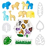 MALLMALL6 11Pcs Jungle Safari Animal Cake Fondant Molds Cookie Cutter Gum Paste Baking Mould Tropical Leaf &Grass Candy Making Mold for Cake Decoration DIY Craft Tools for Baby Shower Birthday Party