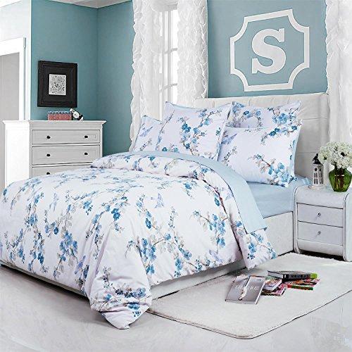 Brandream Floral Duvet Quilt Cover Queen 100% Egyption Cotton Bedding Set White Blue Birds Flower...