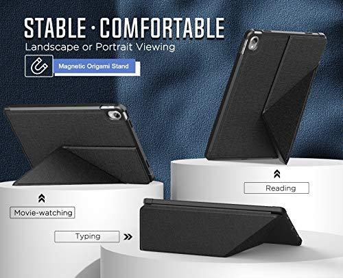 MoKo Hülle Kompatibel mit Lenovo Tab P11 11-inch 2020 Model TB-J606F TB-J606X, Origami Ständer Schutzhülle mit Multi Winkel Magnetisches Case TPU Rückseite Kompatibel mit Lenovo Tab P11 2020, Schwarz