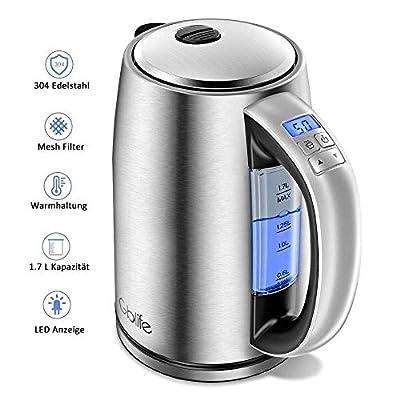Bouilloire électrique en acier inoxydable 2200 W 1,7 l avec changement de couleur LCD et réglage de la température alarme, fonction maintien au chaud
