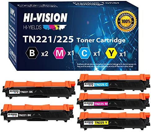 5 Pack HI Vision Compatible TN 221 TN 225 Toner Cartridge Replacement for TN221 TN225 HL 3140cw product image