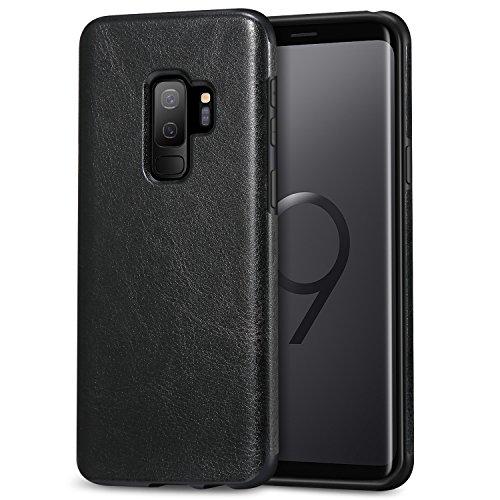 TENDLIN Galaxy S9 Plus Case Leather Back Flexible TPU Silicone Hybrid Slim Case for Samsung Galaxy S9 Plus (Black)