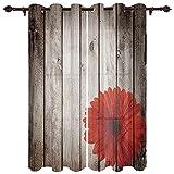 ZSDFPW Cortinas Opacas Flor de Puerta de Madera roja Gris Cortinas Térmicas Aislantes Poliéster Cortinas de impresión para Oficina Cuarto Decorativa Reducción de Ruido 140x250cmx2