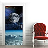 Etiqueta de Puerta Planeta Cielo Estrellado Pegatinas de Pared Decoración de Hogar 95 x 215 cm