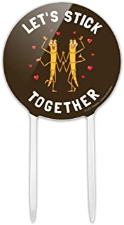 GRAPHICS & MORE Acrylic Let's Stick Together Walking Bugs Love Funny Humor Cake Topper Party Decoration for Wedding Anniversary Birthday Graduation