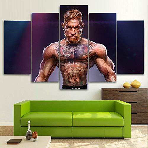DBFHC Cuadros Modernos Impresión De Imagen Artística Digitalizada UFC Conor MC Gregor MMA Lienzo Decorativo para Salón O Dormitorio 5 Piezas XXL