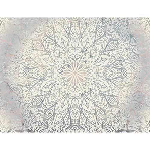 Fototapeten 396 x 280 cm Mandala Orientalisch | Vlies Wanddekoration Wohnzimmer Schlafzimmer | Deutsche Manufaktur | Blau Beige Weiss 9286012a
