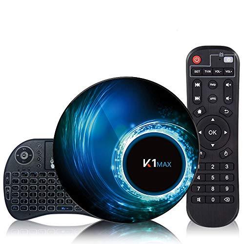 Maxsooner Android 10.0 [4G + 32G] TV box con mini tastiera wireless, box Android RK3318 a 64 bit con processore chip quad-core, doppio Wi-Fi 5G / 2.4G, set-top box, smart TV box