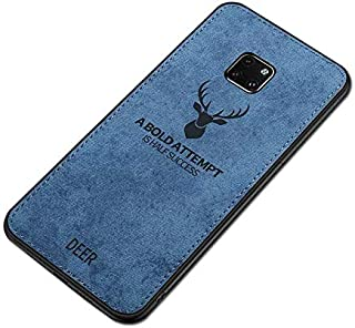 Huawei Mate 20 Pro Case Deer Pattern Woven Design Soft TPU Shock Absorption Cleanable Mobile Cover Blue