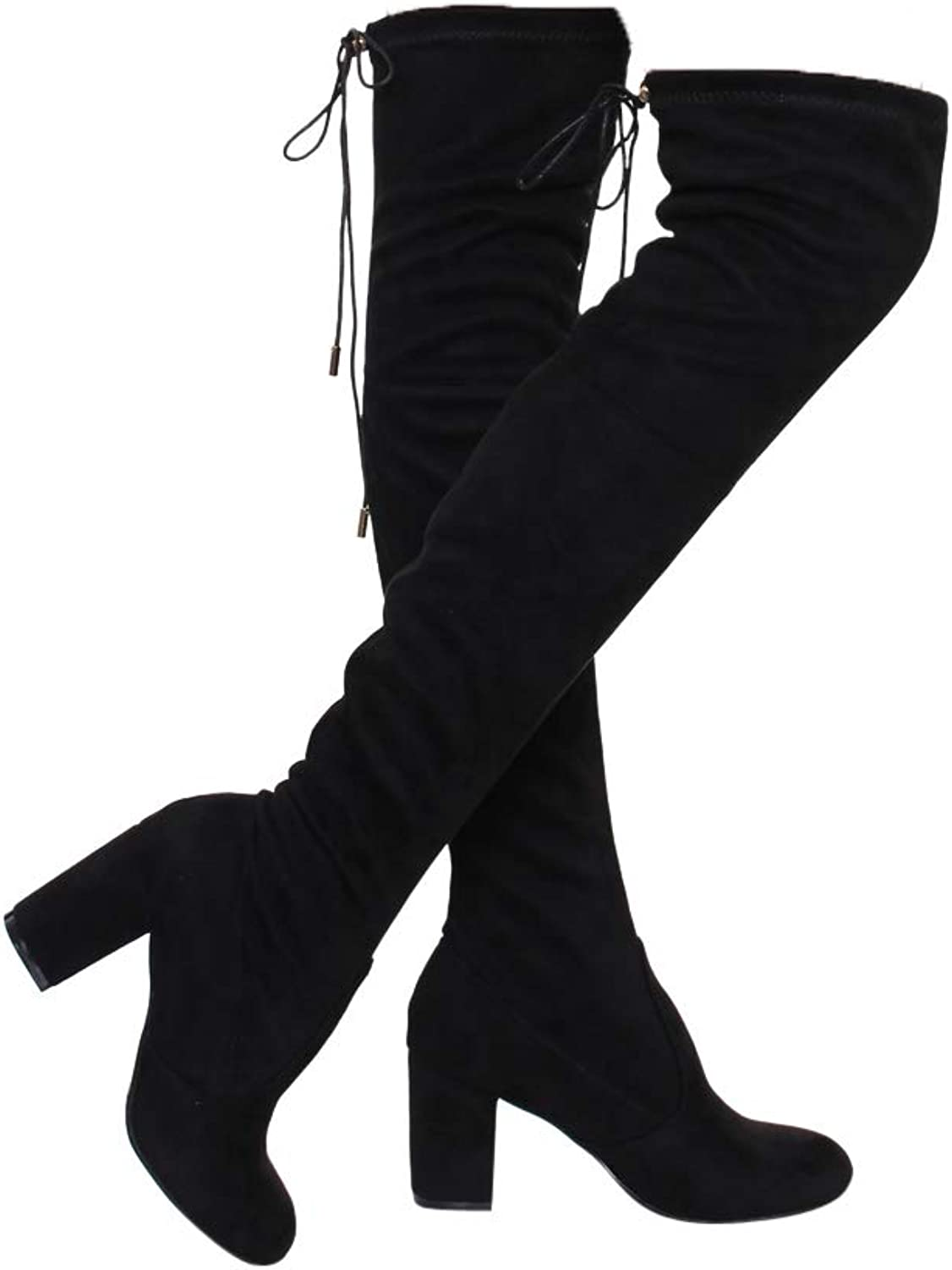 ShoBeautiful Women's Over The Knee Boots Stretchy Thigh High Chunky Block Heel Boots