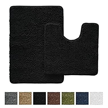 Gorilla Grip Original Shaggy Chenille Bathroom 2 Piece Rug Set Includes Mat Contoured for Toilet and 30 x 20 Carpet, Machine Wash/Dry, Perfect Plush Mats for Tub, Shower, and Bath Room (Black)