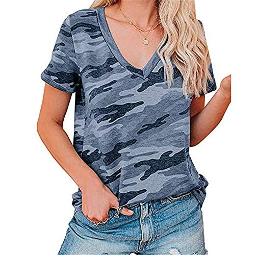 Camiseta Mujer Tops Mujer Cómodo Transpirable Moda con Cuello En V Manga Corta Verano Vacaciones Ocio Elegante Elegante Patrón De Rayas Leopardo Mujeres Camisas H-Dark Blue M