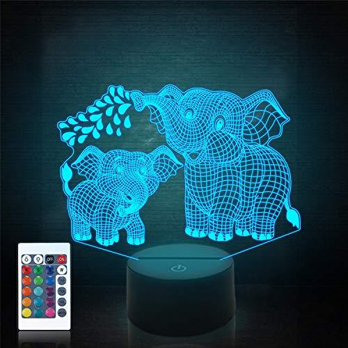 Elefant 3D Nachtlicht für Kinder 3D Lampe mit 16 Farben Wechsel Fernbedienung Elefantenspielzeug 10 9 3 5 2 8 1 7 6 4 Jahre alte Mädchen Frauen Baby Jungen