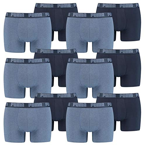 PUMA 12 er Pack Boxer Boxershorts Men Herren Unterhose Pant Unterwäsche, Farbe:037 - Denim, Bekleidungsgröße:XL