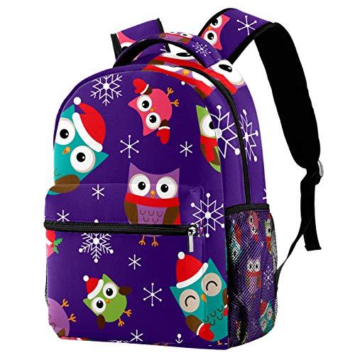 Owls with Christmas Hat Snowflake Pattern Backpack School College Bag Bookbag Hiking Travel Rucksack for Women Men