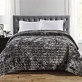 Faux Fur Bed Blanket Soft Cozy Warm Fluffy Variation Print Minky Fleece Throw Blanket, Grey, 90'×90'