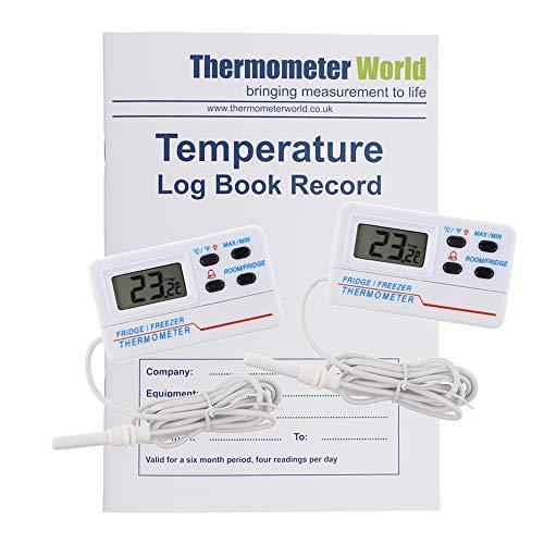 Libro de registro de temperatura con 2 termómetros digitales para nevera y congelador con alarma de temperatura y función máxima mínima y cable de 1,2 m.