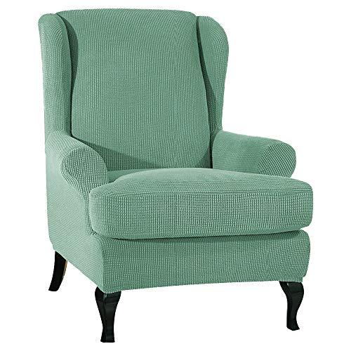 ChicSoleil Ohrensessel Überwürfe Jacquard Sesselbezug Sessel-Überwürfe Bezug Sesselhusse Elastisch Stretch Husse für Ohrensessel