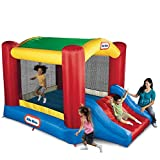 Little Tikes Jump 'n Slide Bouncer with Arched Canopy Overhead Cover, Plus Heavy Duty Blower, Stakes, Repair Patches, and Storage Bag | 3-Kid Capacity, Ages 3-8 Years