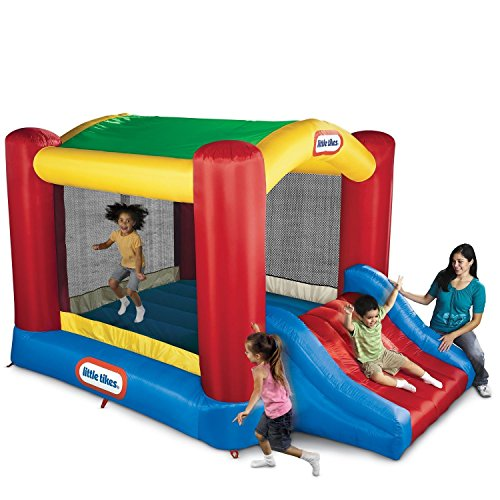 Little Tikes Jump 'n Slide Bouncer with Arched Canopy Overhead Cover, Plus Heavy Duty Blower,...