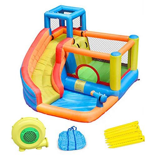 Castillo Inflable De Jardín De Infantes, Trampolín para Niños, Castillo Inflable con Tobogán Y Pistola De Agua, Juguetes para Juegos Al Aire Libre, 320X280x210cm