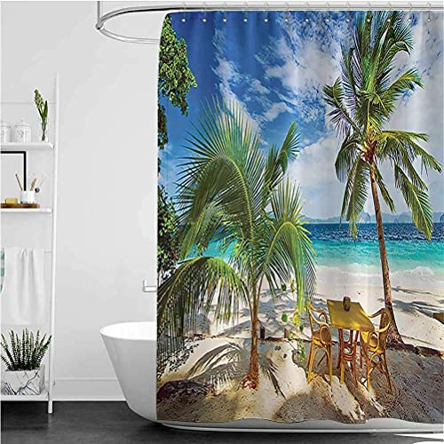 lovedomi Coastal Duschvorhang für Essen am Strand unter der Sonne Palmen & Schatten für Schatten Luxus Urlaub Duschvorhang Wasserdicht Polyester Stoff Duschvorhang 183 x 183 cm