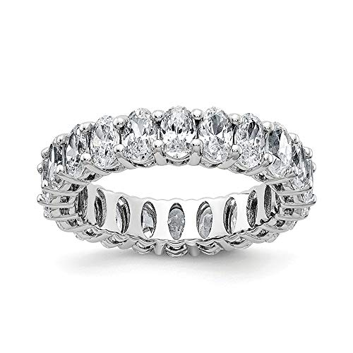 14k White Gold Oval Eternity Wedding Ring Band G H I True Moissanite Size 9.00 Style Fine Jewellery For Women Gifts For Her
