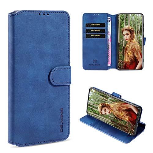 xinyunew Handyhülle Kompatibel mit Xiaomi Poco F2 Pro/Redmi K30 Pro Hülle,360 Grad Handyhülle + Panzerglas Premium Handy Schutzhülle Leder Wallet Tasche Flip Brieftasche Etui Schale (Blau)