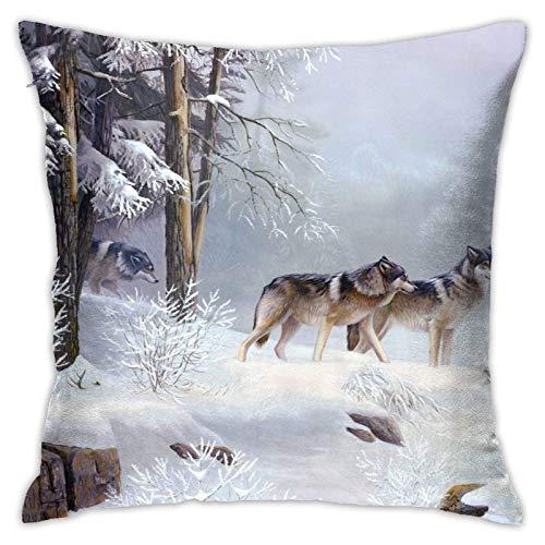 JONINOT Doble Cojines Fundas 18' Lobo de Nieve Funda de Almohada Suave para la Piel