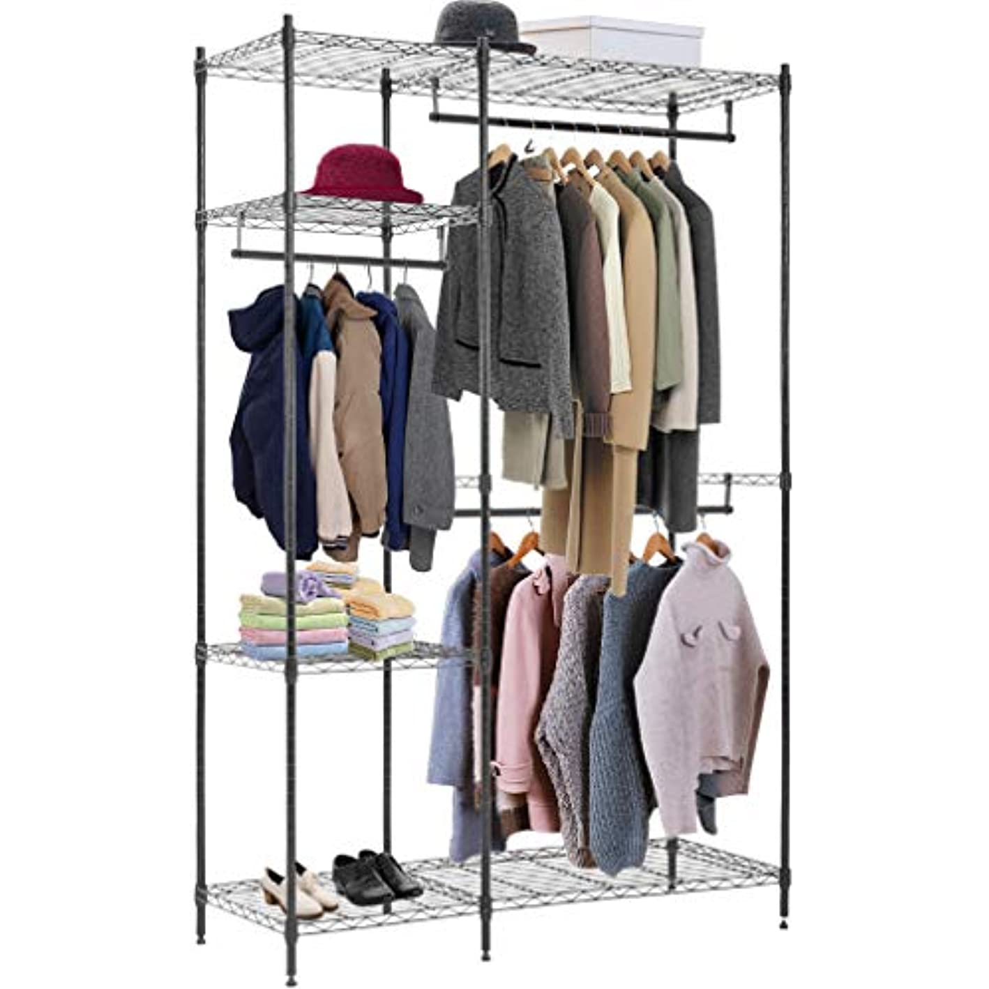 Hanging Closet Organizer and Storage Heavy Duty Clothes Rack Sturdy 3 Rod Garment Rack Large with Wire Shelving Height Adjustable Commercial Grade Metal Clothes Stand Rack for Bedroom Cloakroom,Black