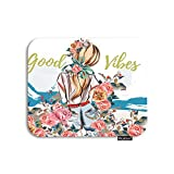 Moslion Floral Mouse Pad Flower Girl Shadow with Roses Bird Leaves Mountain Quote Good Vibes Gaming Mouse Pad Rubber Large Mousepad for Computer Desk Laptop Office Work 7.9x9.5 Inch