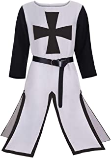 CosplayDiy Men's Medieval Crusader Knight Templar Surcoat Cloak Renaissance Warrior Cosplay Costume Robe