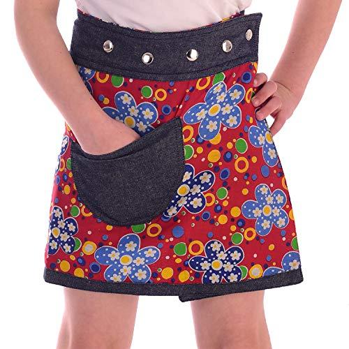Sunsa Mädchen Rock Minirock Jeansrock Wende-Wickelrock Sommerrock kurz, Mini Jeans Mädchenrock Girls Skirt, 2 Kinder Röcke in einem, Verstellbarer Größe, Kid's Coole Sachen, Geschenk 15704