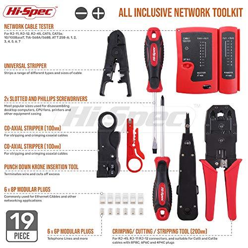 Hi-Spec 19-teiliges Netzwerk & Computer Wartungs- & Reparatur-Set für Profis in Reißverschluss-Etui - ideal für Tests und Problembehebung von Netzwerkkabelinstallationen