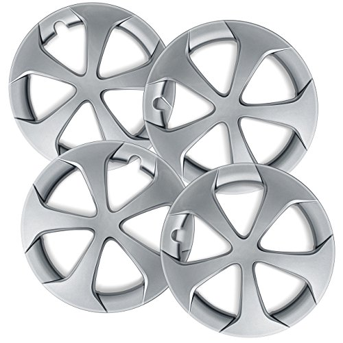 15 inch Hubcaps Best for 2012-2015 Toyota Prius - (Set of 4) Wheel Covers 15in Hub Caps SIlver Rim Cover - Car Accessories for 15 inch Wheels - Snap On Hubcap, Auto Tire Replacement Exterior Cap