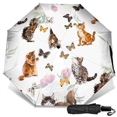 Animal Cats Butterfly Manual Dreifachklappbarer kompakter Reiseregenschirm UV-Schutz Stark Winddicht