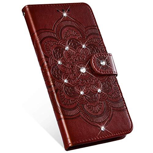 Ukayfe Compatibile con Nokia 5.1 Plus Custodia,Mandala Motivo PU Pelle Custodia con Bling Brillantini Glitter Strass Portafoglio a Libro Leather Flip Case per Nokia 5.1 Plus-Marrone