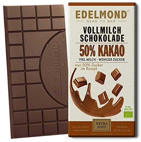Edelmond Bio 50% Kakao. Milch - Schokolade aus gewalzten Kakaobohnen. Fair Trade. Single Plantation Qualität. (1 Tafel)