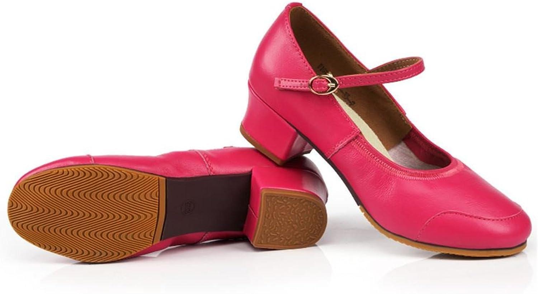 BYLE Leder Sandalen Riemchen Samba Modern Jazz Dance Schuhe Square Dance Leder Schuhe, High-Heeled Weiblichen Erwachsenen Weichen Boden ist Rot