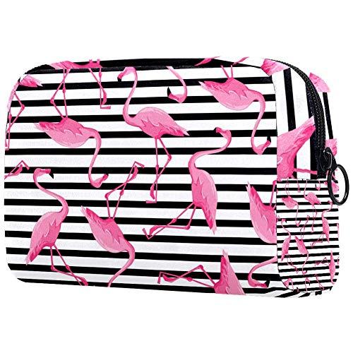 Trousse de toilette portable pour femme avec motif flamant rose